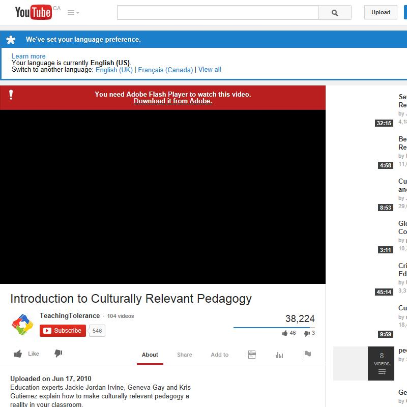Culturally Relevant Pedagogy — Video
