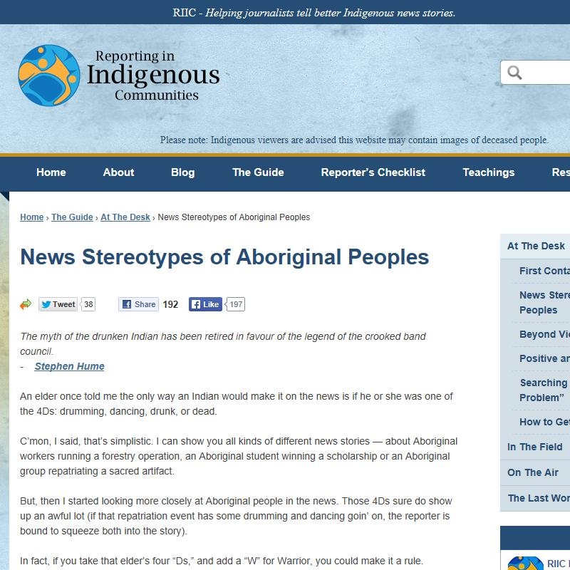 News Stereotypes of Aboriginal Peoples