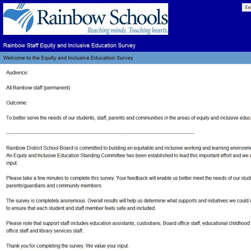 Rainbow Staff Equity and Inclusive Education Survey