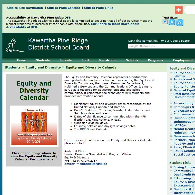 Equity and Diversity Calendar