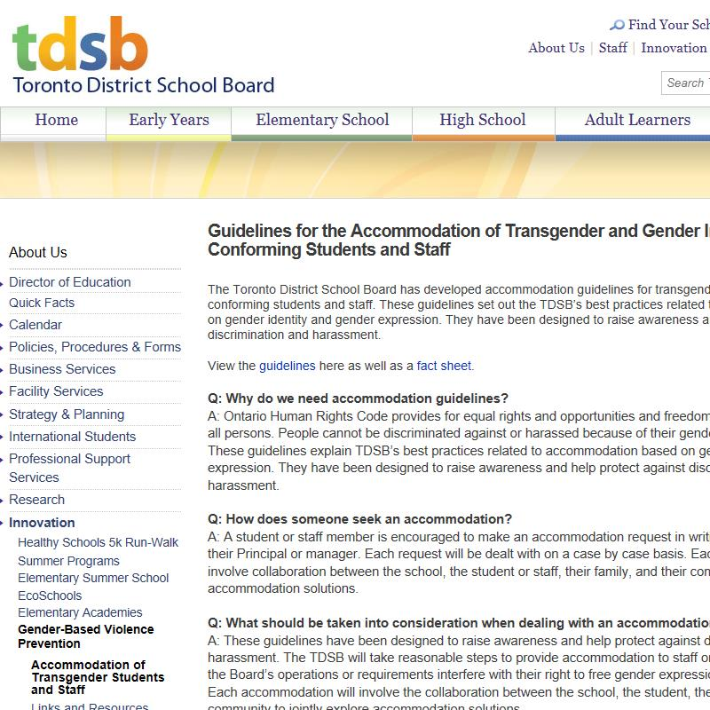 Guidelines: Accommodating Transgender Students and Staff